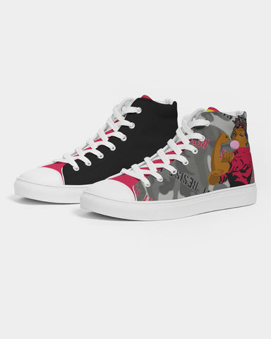 The Resistance (Red) Camouflage Women's Hightop Canvas Shoe