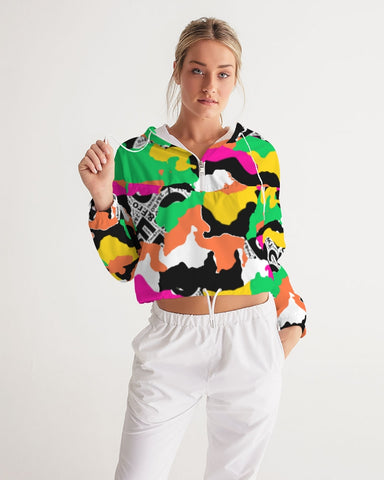 ™️ Neon 2&Fro Camo Women's Cropped Windbreaker