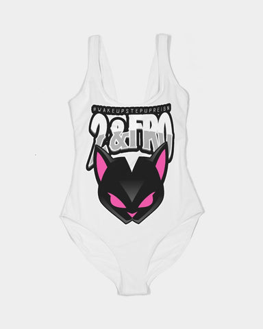 Black Cat branded logo Women's One-Piece Swimsuit