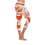 Dope Orange Rose  Low Rise Capri Leggings