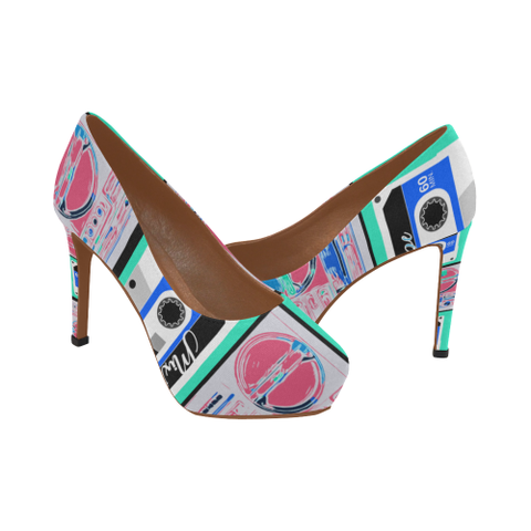 MixTapes & Boomboxes Power Heels - Blush