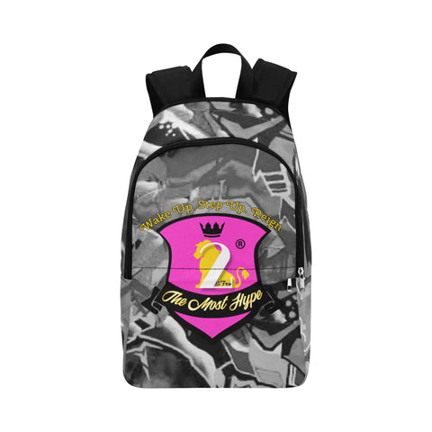 backpack with grayscale graffiti background on sides and top with pink shield bearing the 2&Fro lion with crown and sash in black bearing the words: The Most Hype in Yellow/white. Above the shield is the motto: wake up step up reign