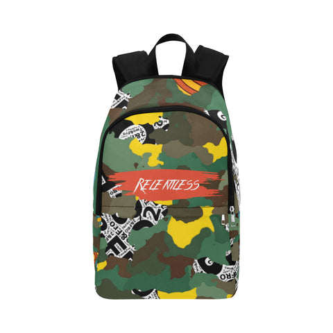 Yellow, Orange, and green camo mixed with targets print on the top and side of backpack. The word relentless is on the front in an orangish colored background with white lettering.