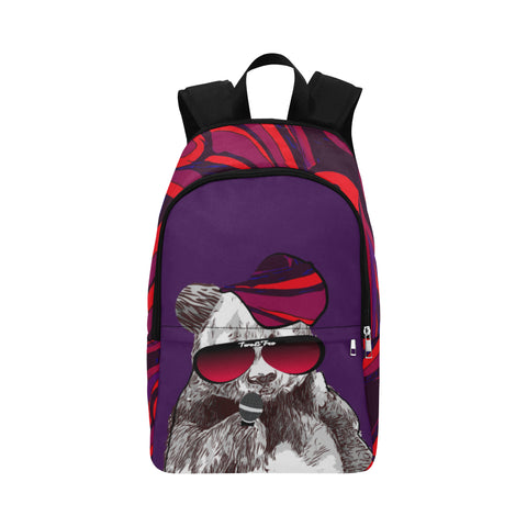 Panda Bear holding a microphone, wearing sunglasses with two&fro on them and also rocking a red/purple print hat. The same print is on the sides and top of backpack.