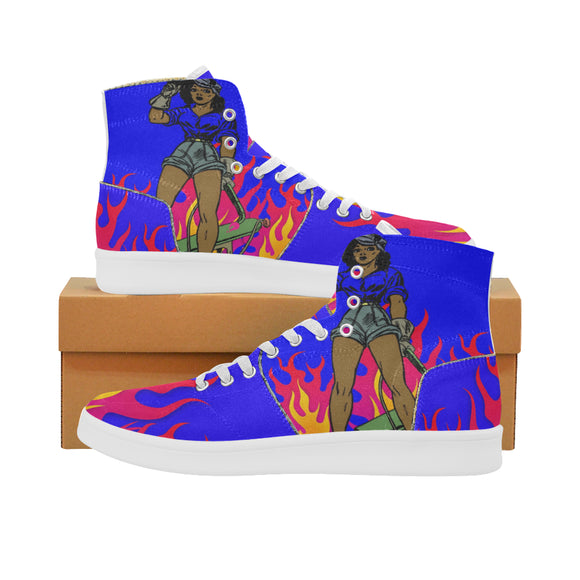 Blue Flame Ladies High Tops (size 6-11)