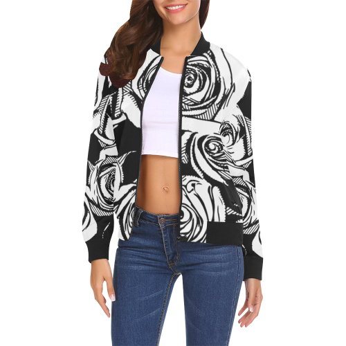 Dope Rose BlackWhite Bomber - ladies