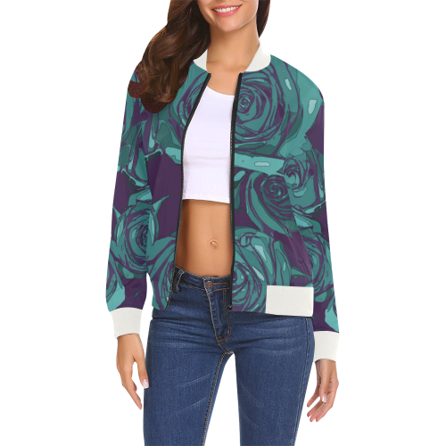 Dope Rose Blue Bomber jacket - ladies