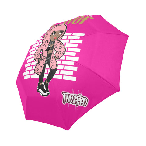 HipHop Pink Hair Don't Care Auto-Foldable Umbrella