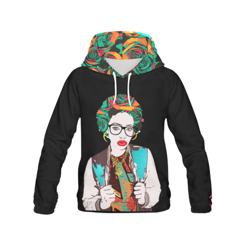 Incomparably Dope Rose aFRO hOODIE - tEAL