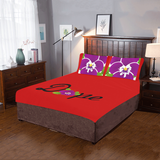 Dope Red African Violet 3-Piece Bedding Set