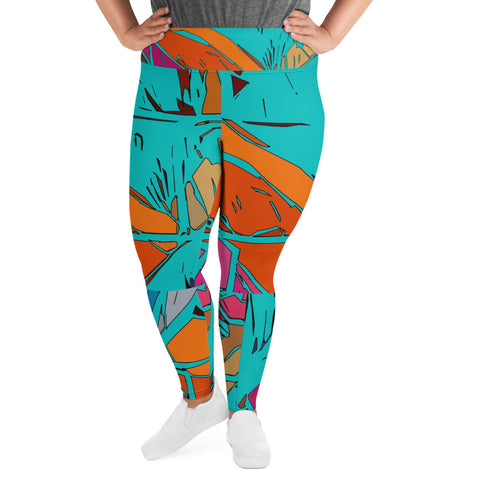 Distraction (Teal) All-Over Print Plus Size Leggings