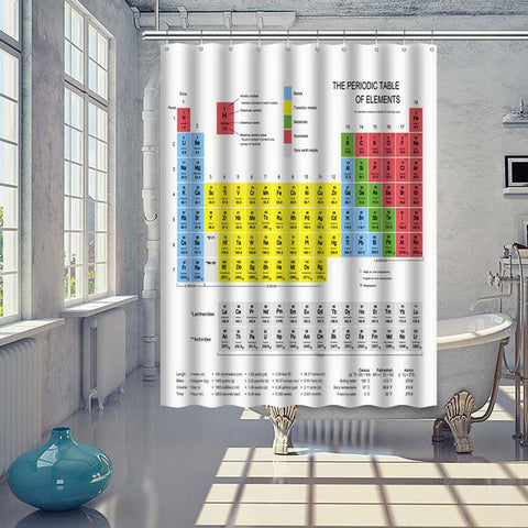 Periodic Table of Elements Chemistry Shower Curtain With Hooks