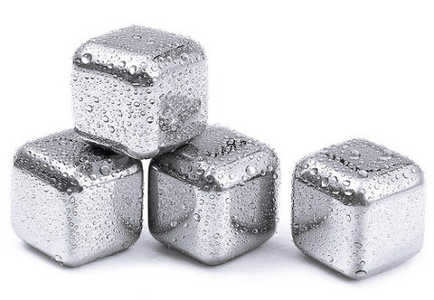 Wine Cooler Stones Stainless Steel Ice Cube's x 4