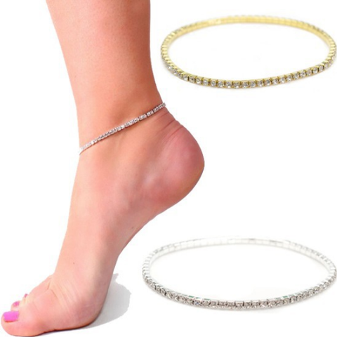 Anklet 2017 Clear Crystal Tennis Stretch Ankle Bracelet Jewelry