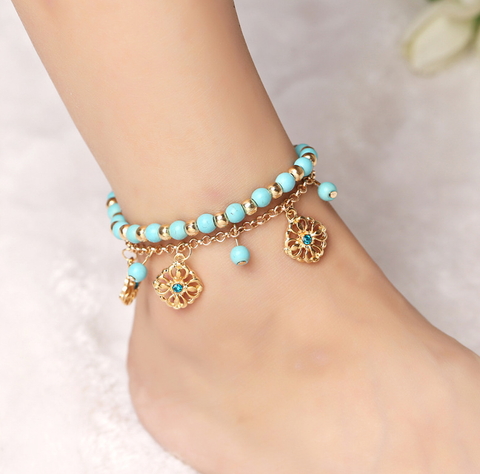 Anklet 2017 Flower Beads Ankle Bracelet Set Jewelry, - FREE + Shipping PROMOTION