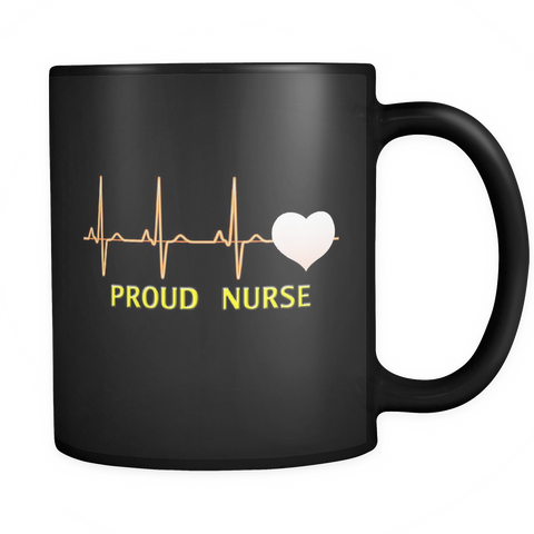 Proud Nurse Black Coffee Mug