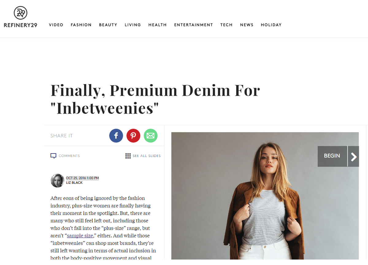Refinery 29: Finally, Premium Denim For Inbetweenies