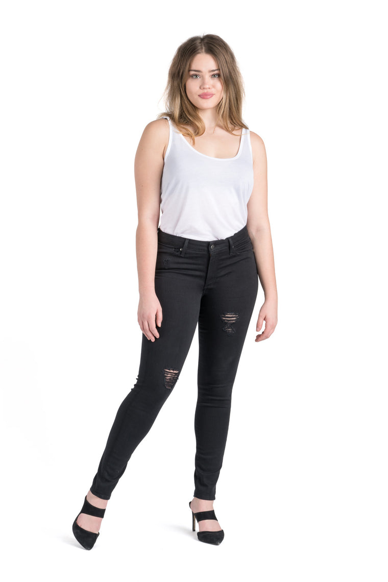 Dakota High Rise Destroyed Skinny | Saturated Black