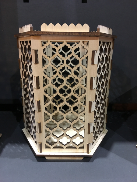 Moroccan Trellis Quatrefoil - Hexagon Pillar Candle holder - Etch Pros.. Laser Craft Studios