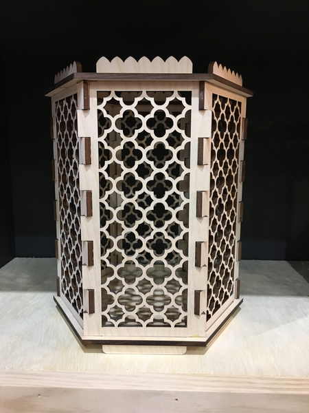 Moroccan Trellis Barbed Quatrefoil - Hexagon Pillar Candle Holder - Etch Pros.. Laser Craft Studios