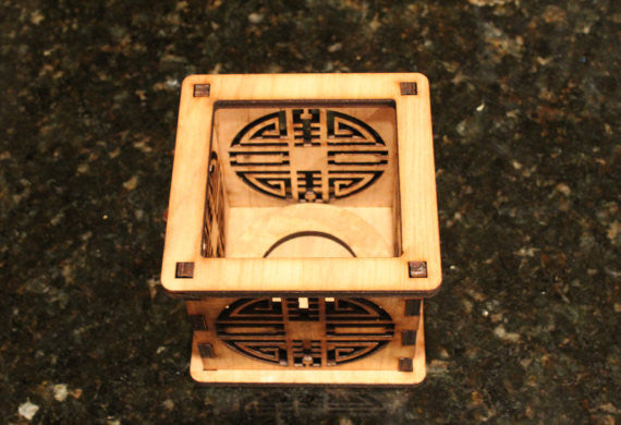 Double Happiness - Tea Light Holder - Etch Pros.. Laser Craft Studios