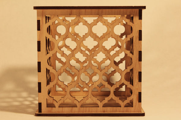 Moroccan Pattern 1 - Pillar Candle Holder - Etch Pros.. Laser Craft Studios
