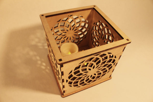 Dahlia - Candle Holder - Etch Pros.. Laser Craft Studios
