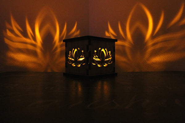 Lotus Flower Outline - Tea Light Holder - Etch Pros.. Laser Craft Studios