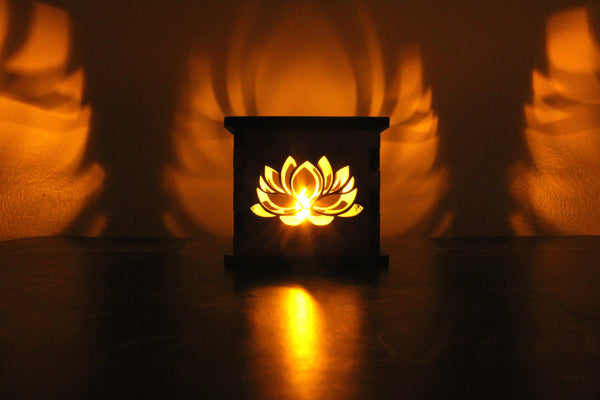 Lotus Flower - Tea Light Holder - Etch Pros.. Laser Craft Studios