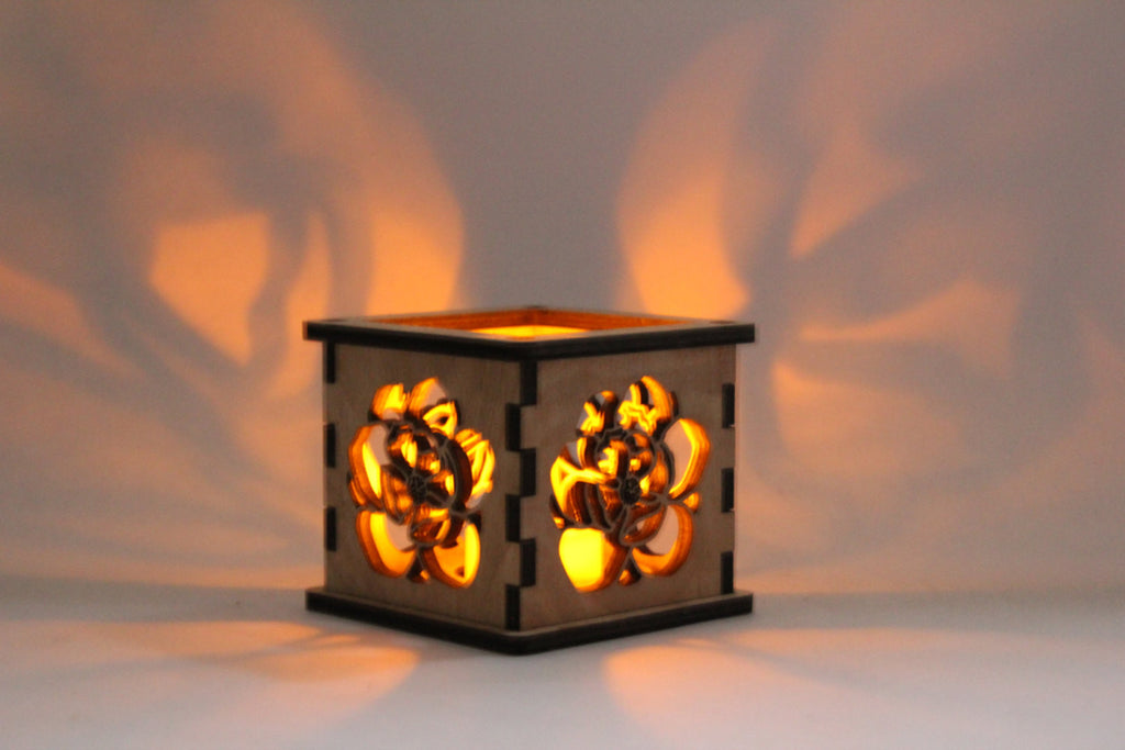 Magnolia - Tea Light Holder - Etch Pros.. Laser Craft Studios