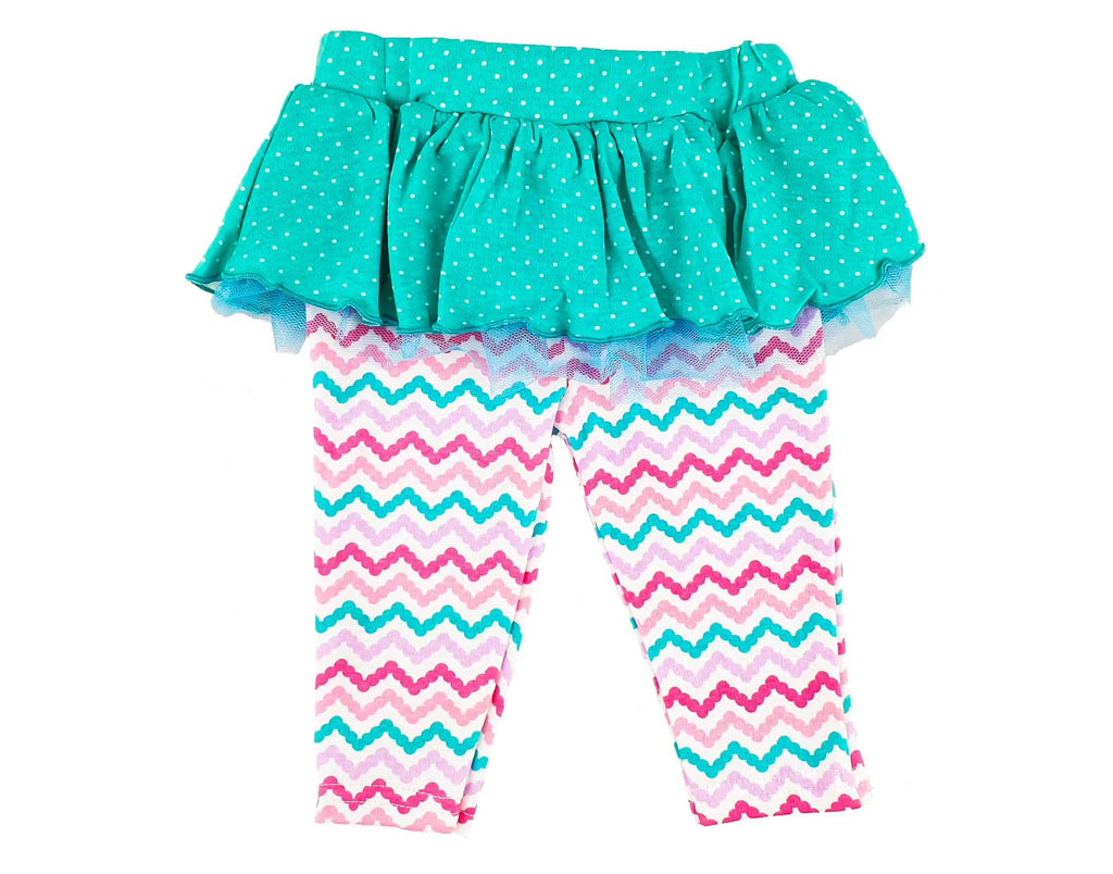 Zig Zag Pants with Frilled Skirt Overlay