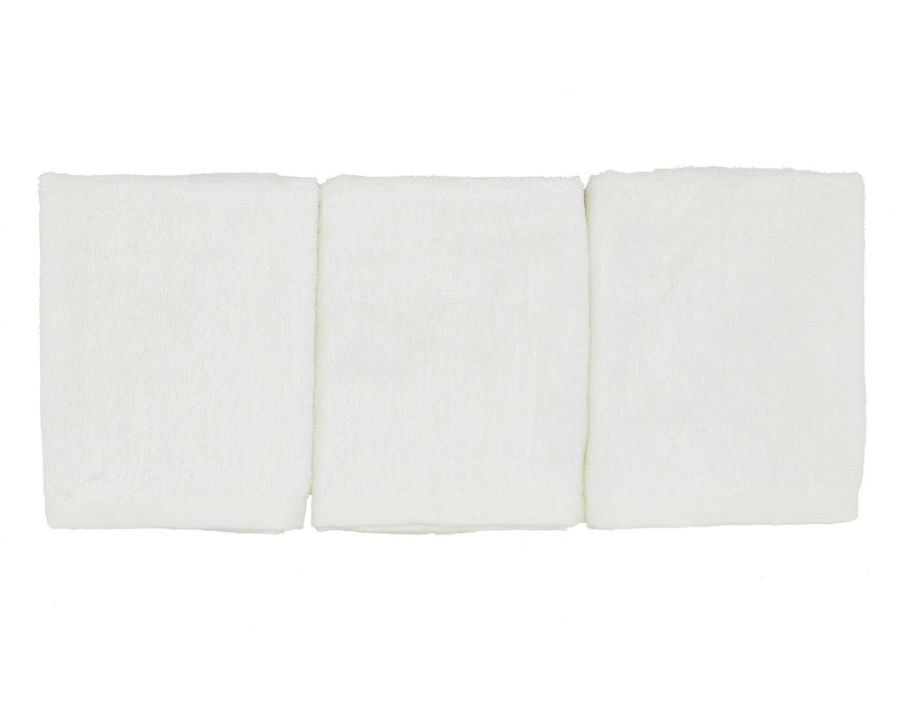 Bamboo White 3 Pack Wash Towel Set (25x25cm)