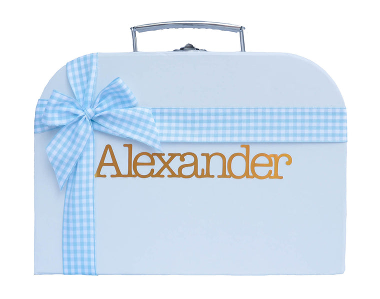 Blue Treasure Chest with Blue Chequered Ribbon
