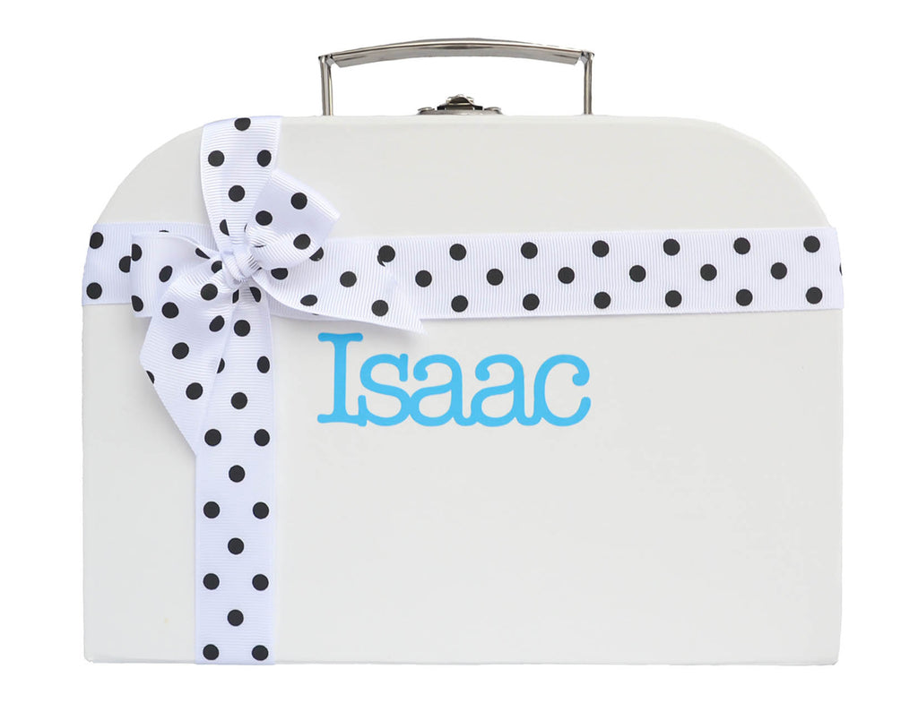 White Treasure Chest with Spotted Ribbon
