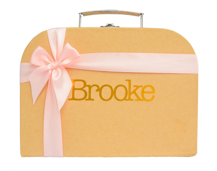 Rustic Brown Treasure Chest with Pink Ribbon