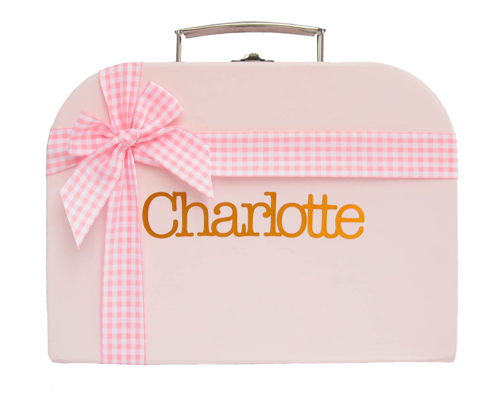 Pink Treasure Chest with Pink Chequered Ribbon