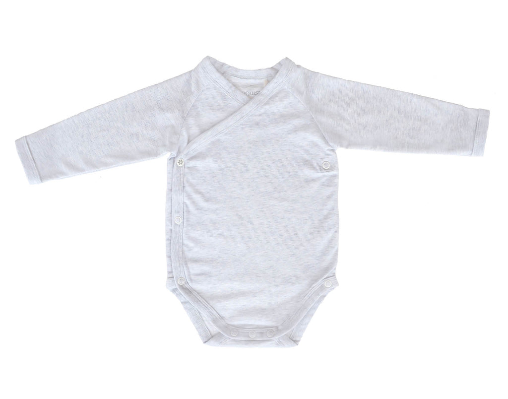 Marquise Grey Stripes Long Sleeve Bodysuit (Size 3-6m)