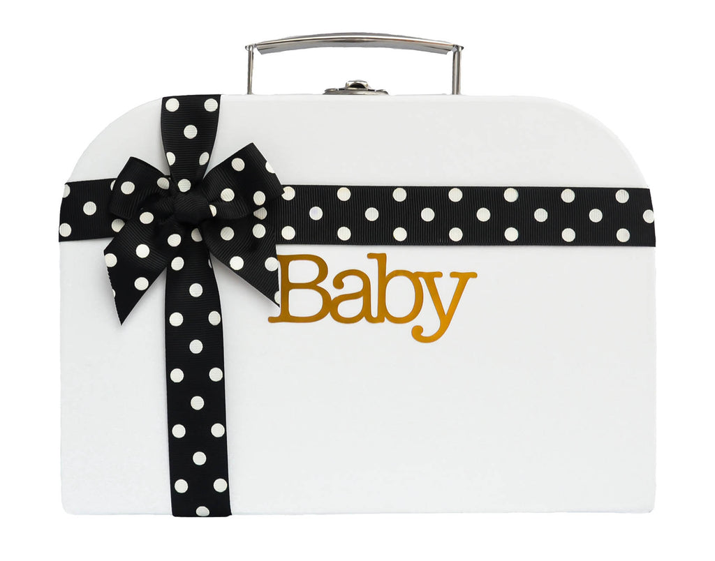 White Treasure Chest with Black Spotted Ribbon