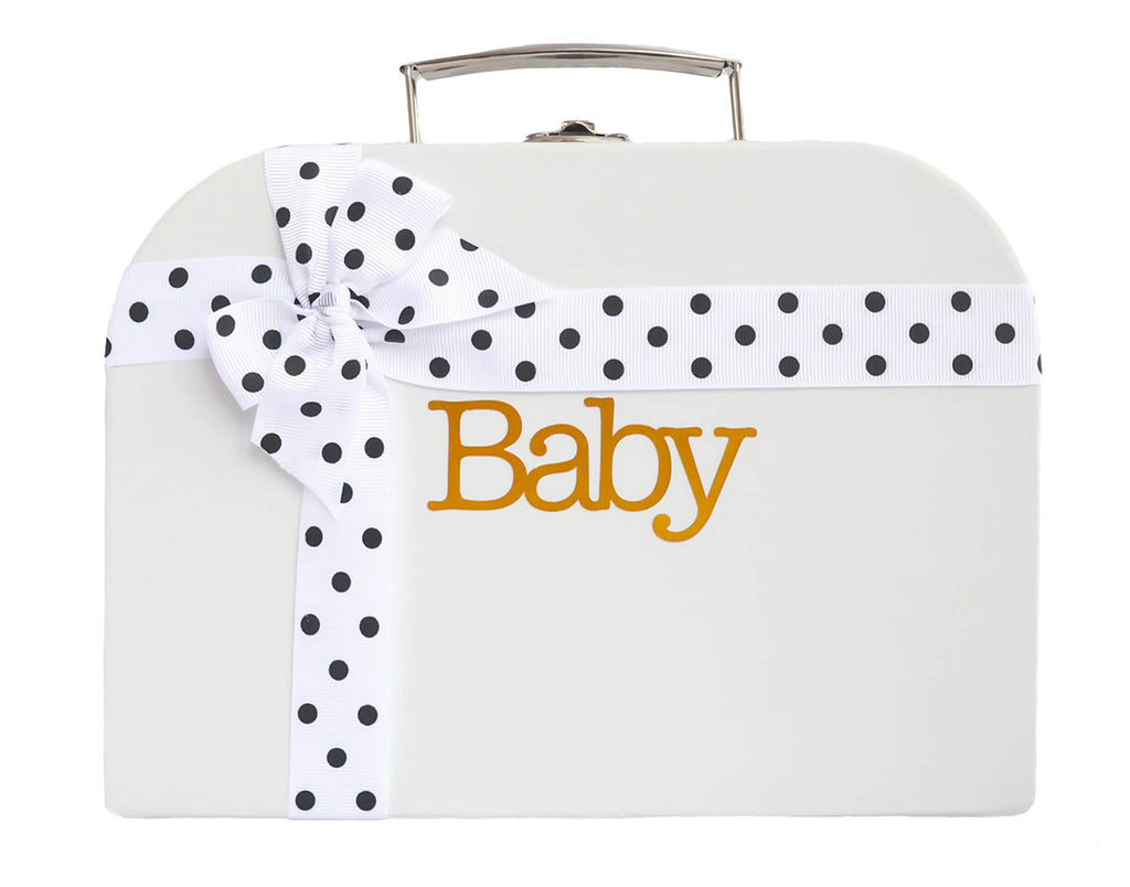 White Treasure Chest with White Spotted Ribbon