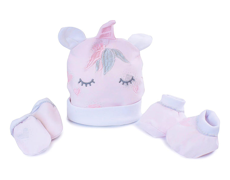 Magical Unicorn Layette Set (Beanie, Mittens & Booties)