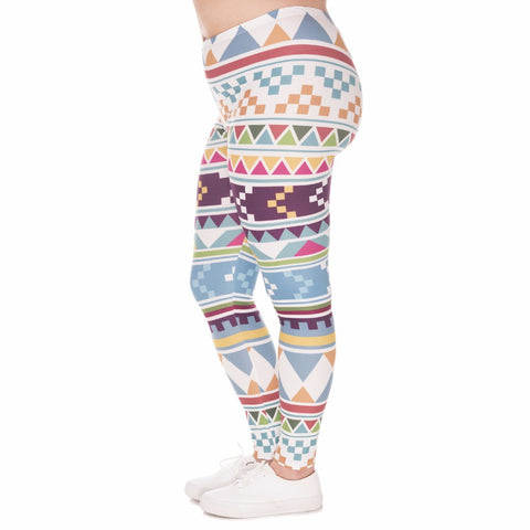 Aztec Morski Leggigns Plus Size - Zen & Grace