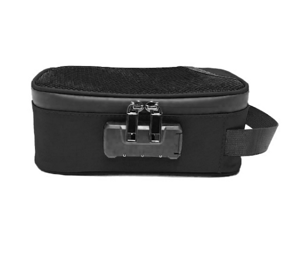 "Odor Proof Zipper Bag with Lock - 8"" x 4"" x 3"" - Black"