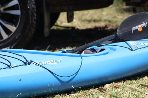 The Shockloc Paddle Leash / Tether is so quick & easy to attach to your kayak / canoe / boat using the stainless steel snap hook