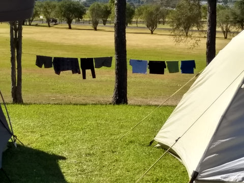 Shockloc Travel / Camping Clothesline / Washing Line can be put up anywhere anytime there is a bit of sun & two trees