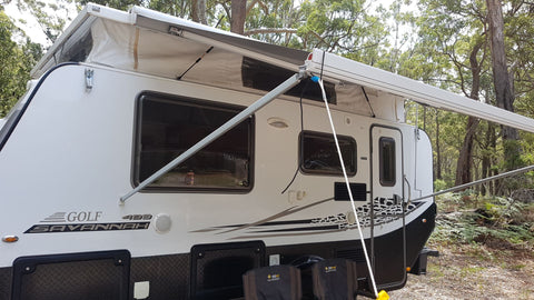 The Shockloc Strap is fantastic for securing caravan awnings, the 100% Australian made shock cord / bungee cord takes some of the energy reducing stress on the caravan awning parts
