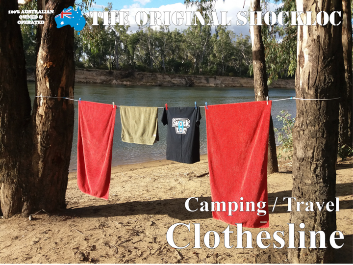 The Original Shockloc fully adjustable camping travel clothesline, clothes line, washing line