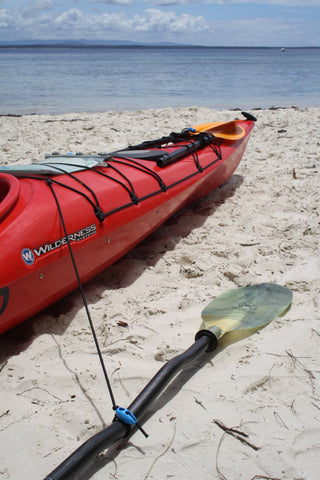 The Shockloc Paddle Leash / Tether is so quick & easy to attach your paddle to your kayak / canoe / boat