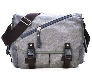 Dual Pocket Zipper Canvas Messenger