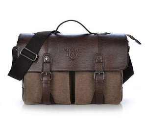 Leather Covered Canvas Satchel
