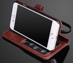 Phone Case Leather - Brown Leather IPhone 7 / 7 Plus Wallet